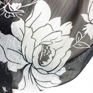 Unknown Accessories - Sheer Floral Black White Oblong Scarf